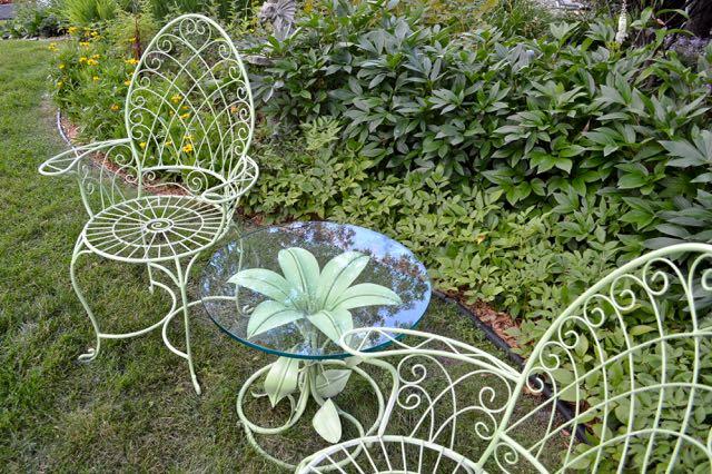 Wire chairs near Lake Minnetonka