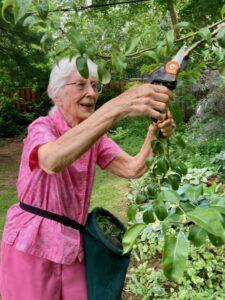 Margaret Bennet-Alder working in her garden at age 94